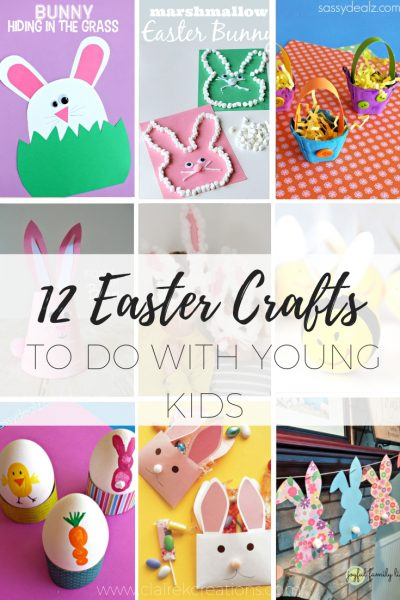 12 Kids Easter crafts - easy easter craft activities to do with young children via www.clairekcreations.com