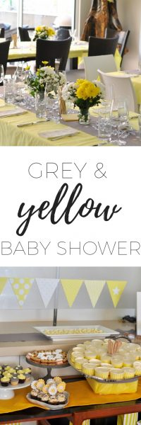 Grey and yellow baby shower - sweet and savoury food and decoration ideas via www.clairekcreations.com