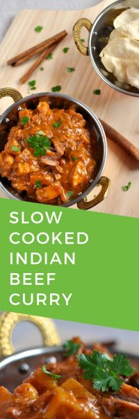 Slow cooked Indian beef curry - delicious, easy winter recipe served with papadums