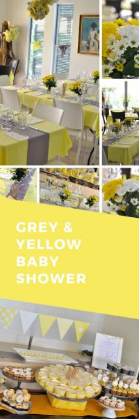 Grey and yellow themed baby shower - decorations and food