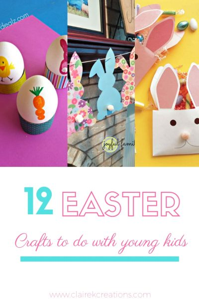 12 Kids Easter activities with paper paint and glue - easy easter craft activities to do with young children via www.clairekcreations.com