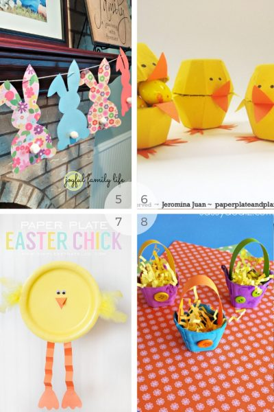 12 Kids Easter bunny crafts - easy easter craft activities to do with young children via www.clairekcreations.com