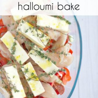 Chicken chorizo and halloumi bake