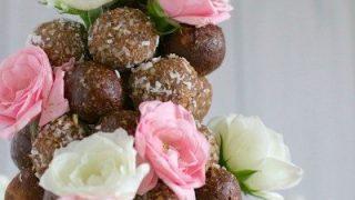 Choc-almond and rosewater bliss balls