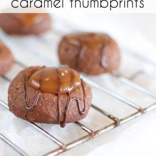 Chocolate salted caramel thumbprints