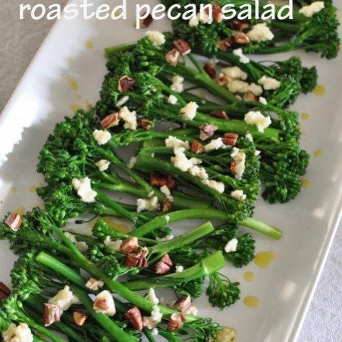 Broccolini, feta and roasted pecan salad