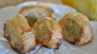 Chicken and feta sausage rolls - make ahead freezable party food