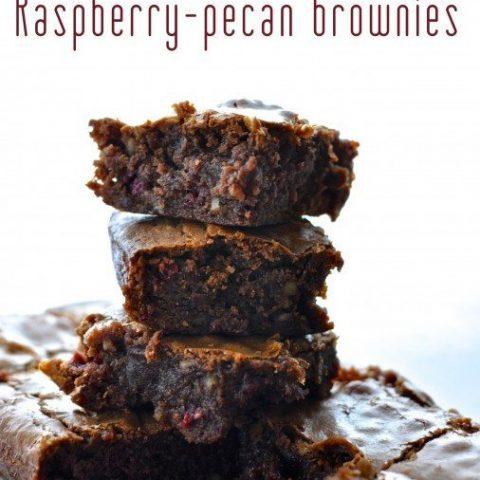 Raspberry and pecan brownies