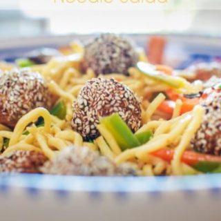 Thai sesame meatball noodle salad