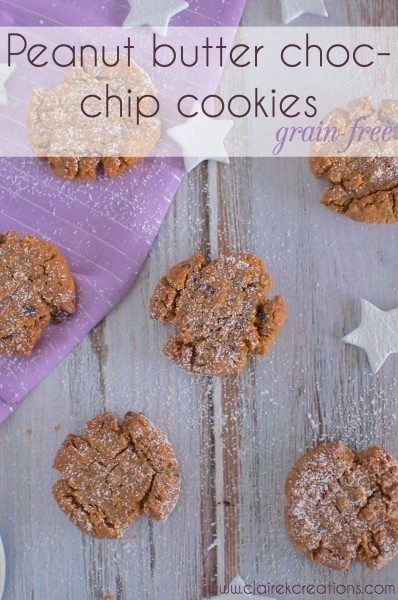 Grain free peanut butter choc chip cookies