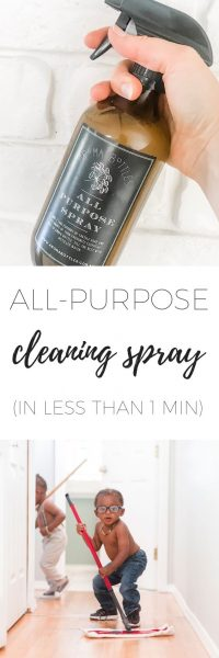 All purpose cleaning spray in amber glass bottle