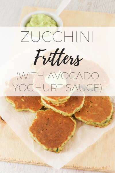 Zucchini fritters with avocado yoghurt sauce