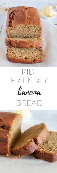 Kid friendly banana bread - sugar and dairy free.