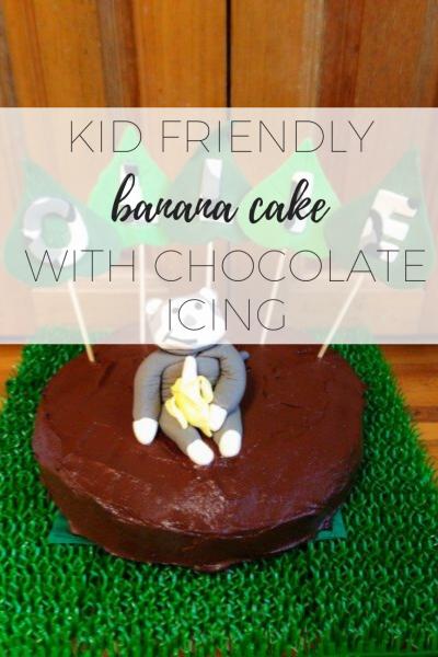 Kid friendly banana cake with chocolate icing