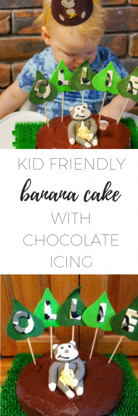 Kid friendly banana cake with chocolate icing - simple and delicious!