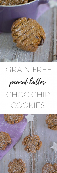 Grain free peanut butter choc chip cookies - delicious snack!