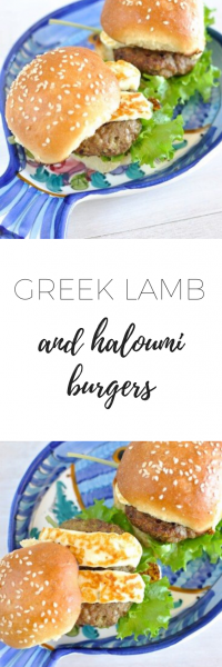 Greek lamb and haloumi burgers - perfect addition to your summer BBQ. They're nice, light and delicious! Add lots of salad to make it more healthy!