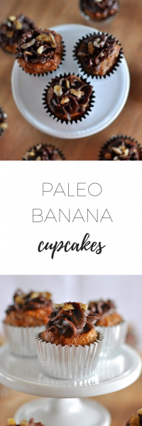 Paleo banana cupcakes - sweet, moist and healthy snack.