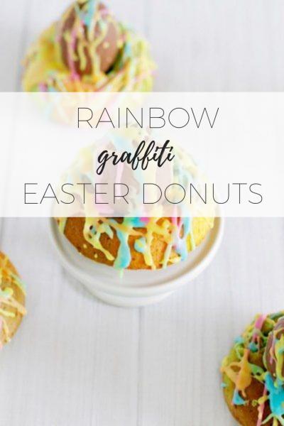 Rainbow graffiti easter donuts