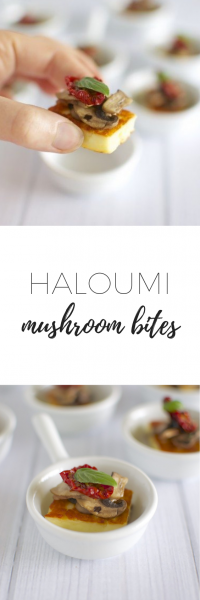Haloumi mushroom bites with sundried tomato and basil - easy to make, delicious, healthy, quick Christmas canapé.