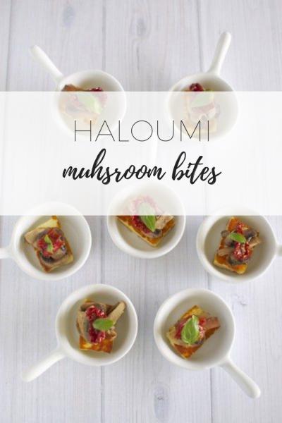Haloumi mushroom bites with sundried to